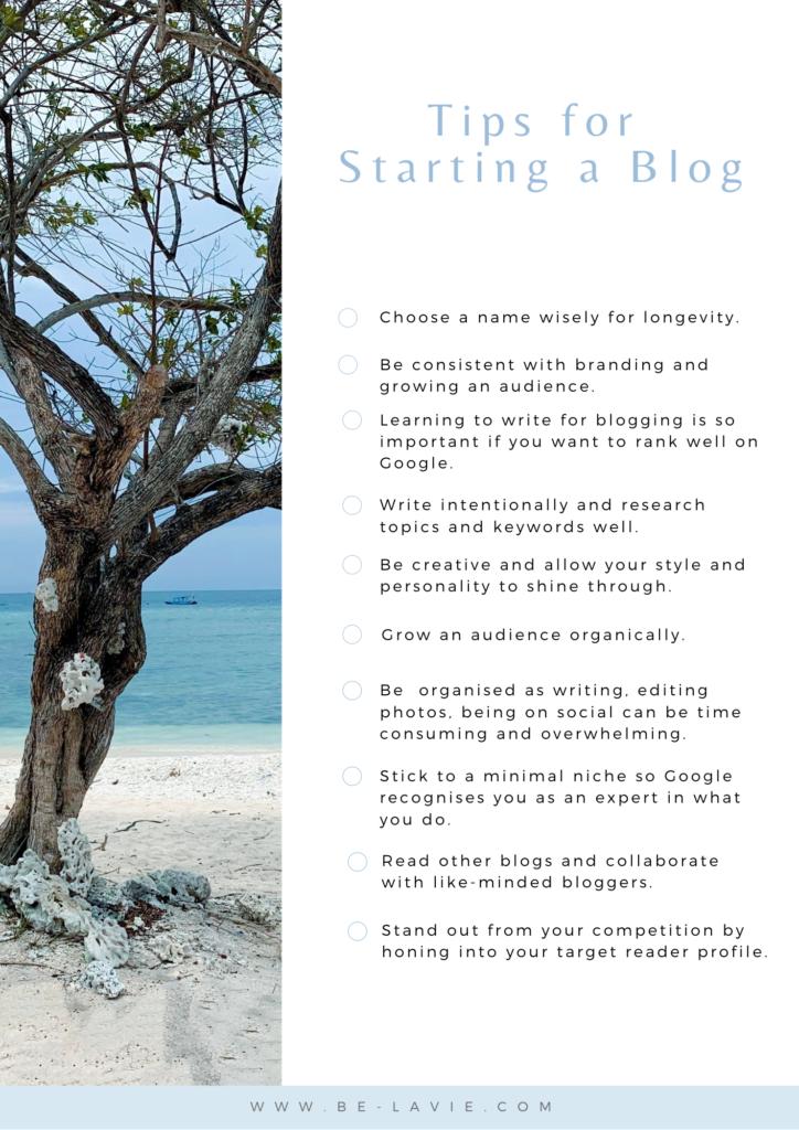 Starting a blog tips